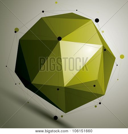 Abstract Asymmetric Vector Colorful Object With Black Lines Mesh, Complicated Geometric Shape.