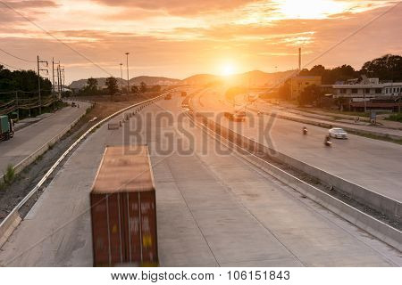 Truck Container On Road Speed Delivery