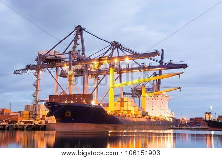 Container Ship In The Harbor