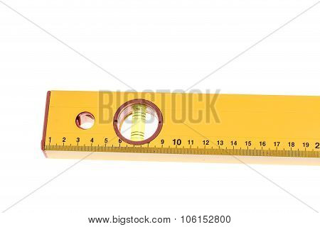 Yellow block level meter with bubble.