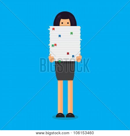 Worker With Stack Of Papers