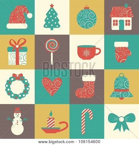 vector set of sixteen colorful christmas icons