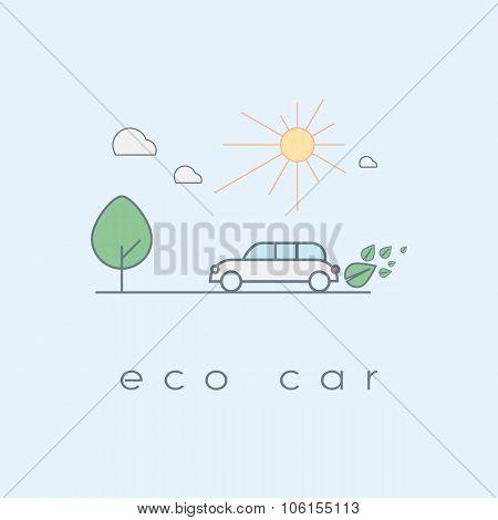 Ecologic car concept in modern line art design. Environmentally friendly vehicle running on hybrid o