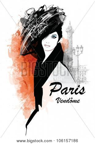 Woman in Paris - place Vendome - Vector illustration