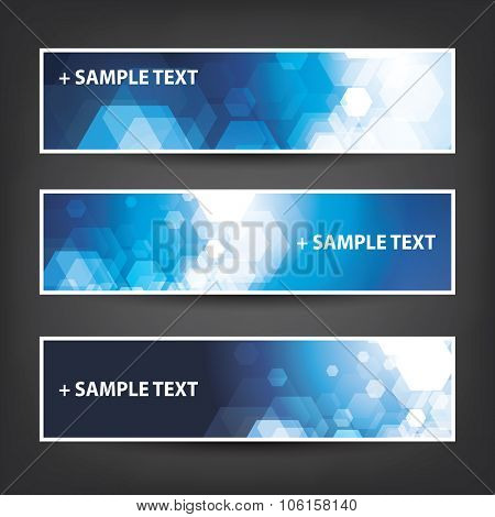 Set of Horizontal Banner / Cover Background Designs - Colors: Blue, White - Party, Christmas, New Year or Other Holiday Ad Banner Templates