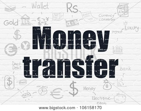 Money concept: Money Transfer on wall background
