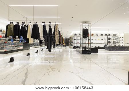 HONG KONG - OCTOBER 25, 2015: interior of Saint Laurent store. Saint Laurent Paris is a luxury fashion house founded by Yves Saint Laurent and his partner, Pierre Berge