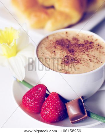 Decorated Photo Cafe Mocha Strawberries Chocolate Croissant Concept