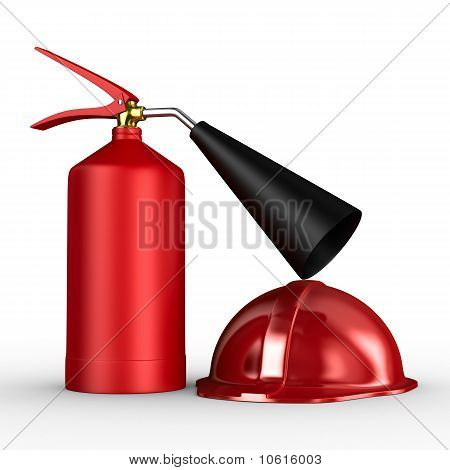 Fire Extinguisher On White Background. Isolated 3D Image