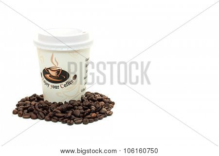 DUSSELDORF, GERMANY - OCTOBER, 2015: Standard coffee to go. All on white background