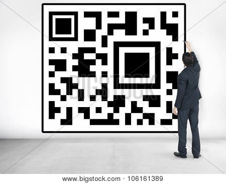 QR Code Bar Codes Log In Check In Internet Website Connect Concept