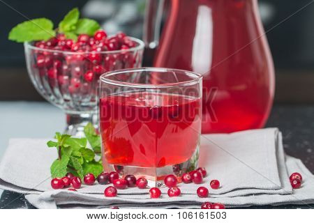 Fresh Cranberry Juice With Mint