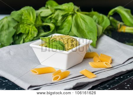 Pesto Sauce In A Gravy Boat