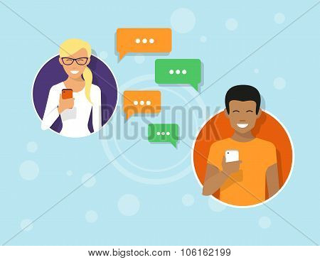 Chatting with friends via messenger app