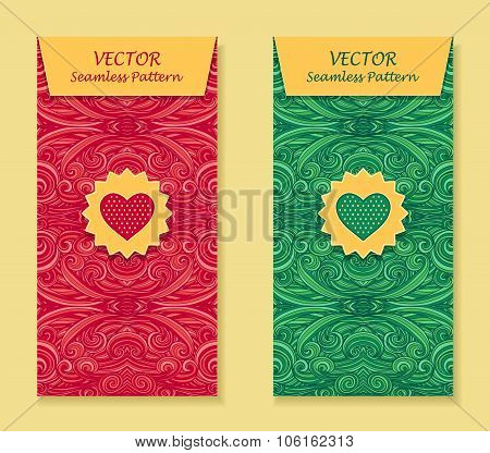 Set Vertical banners with abstract waves in red green