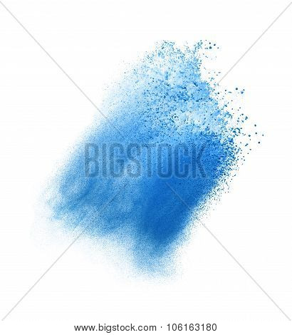Freeze motion of blue dust explosion isolated on white backgroun
