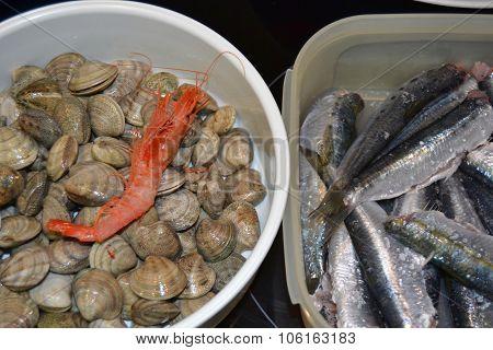 Clams and sardines
