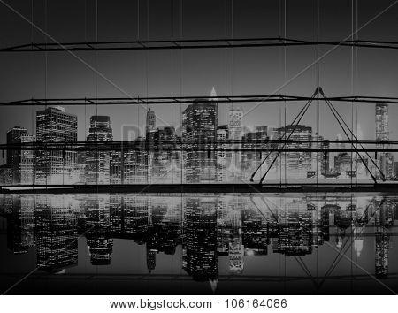 Building Skyscraper Panoramic Night New York City Concept