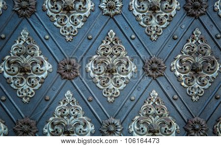 Vintage ancient background. Rustic ancient doors pattern medieval repetitive
