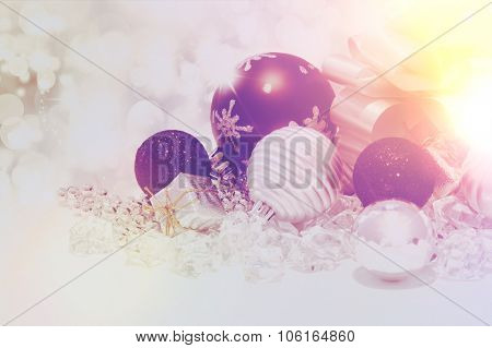 Christmas background with decorations and a vintage effect