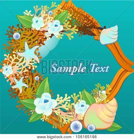 Decorative card with corals and flowers