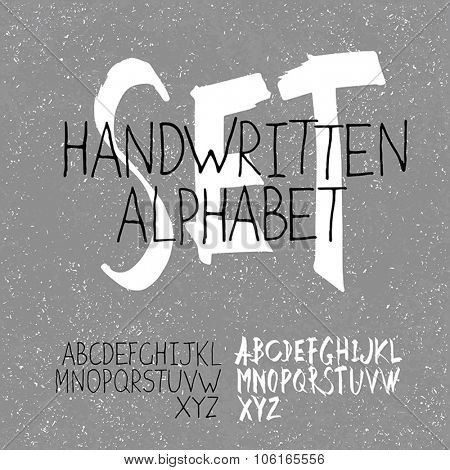 Handwritten Alphabet Set. Two in one. On textured monochrome background
