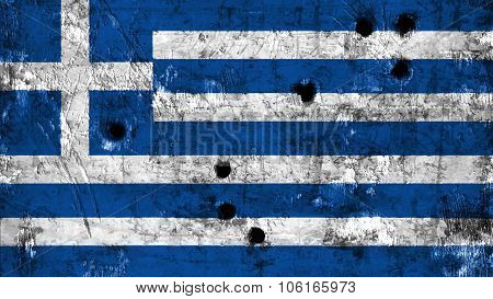 Flag of Greece, Greek flag painted on metal texture with bullet holes.