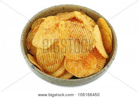 A bowl of fried potato chips with spicy Thai Larb Flavor, isolated on white