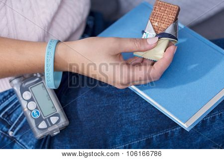 Woman Eating Diabetic Snack