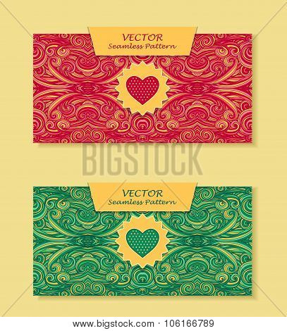 Set Horizontal banners with abstract waves in red green