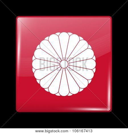 Flag Of Japan. Glassy Icon Square Shape
