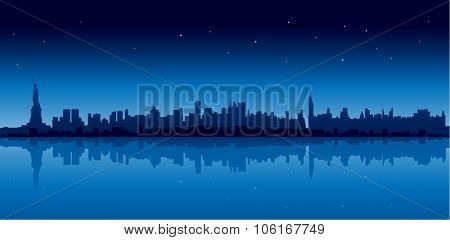 New york city skyline in blue version at night reflect on water