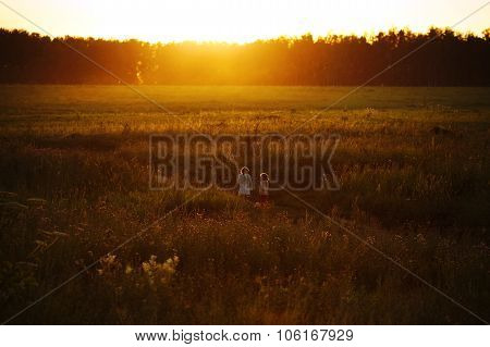 Little Girls Are Walking In A Field At Sunset