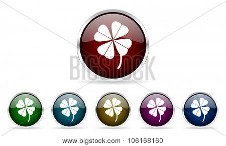 four-leaf clover colorful glossy circle web icons set