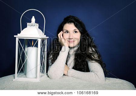 beautiful girl with lantern