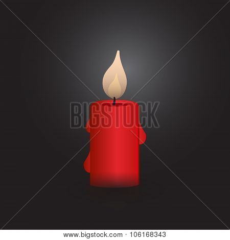 One Red Isolated Vector Candle At Night Eps10