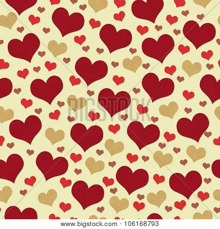 Red And Beige Hearts Tile Pattern Repeat Background