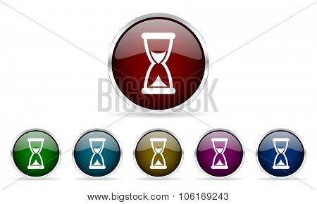 time colorful glossy circle web icons set