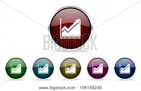 histogram colorful glossy circle web icons set