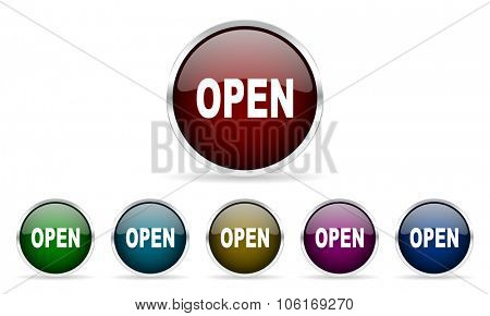 open colorful glossy circle web icons set