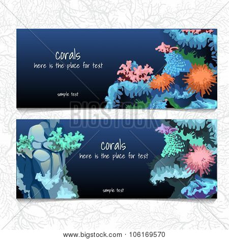 Horizontal blue card with corals and coelenterates