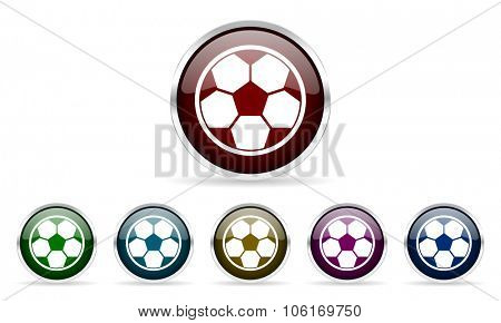 soccer colorful glossy circle web icons set