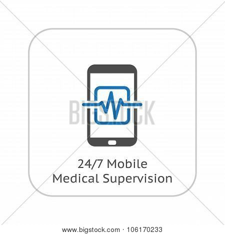 Mobile Medical Supervision Icon. Flat Design.