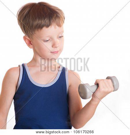 Boy Blue Shirt Doing Exercises With Dumbbells Over White Background
