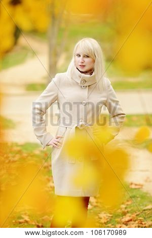 Lady Is Wearing Coat In  Fall