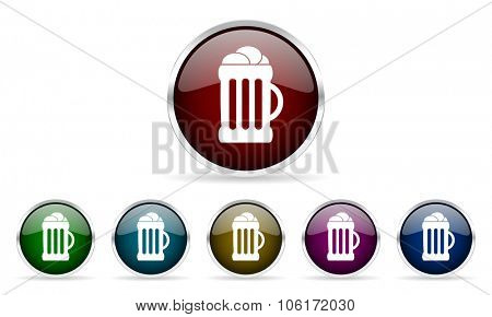 beer colorful glossy circle web icons set