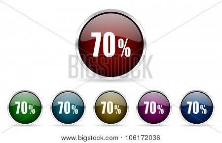 70 percent colorful glossy circle web icons set