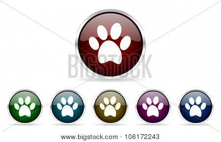 foot colorful glossy circle web icons set