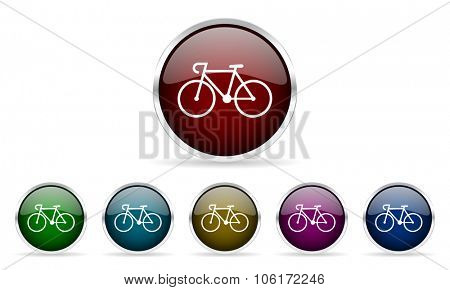 bicycle colorful glossy circle web icons set