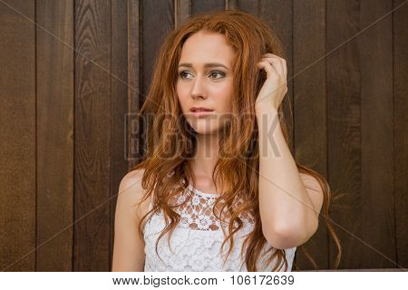 Portrait Of Red Hair Girl.